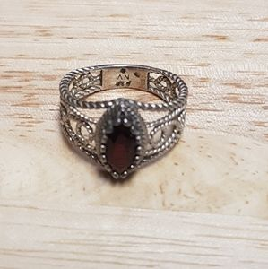 Red Stone Wire Ring